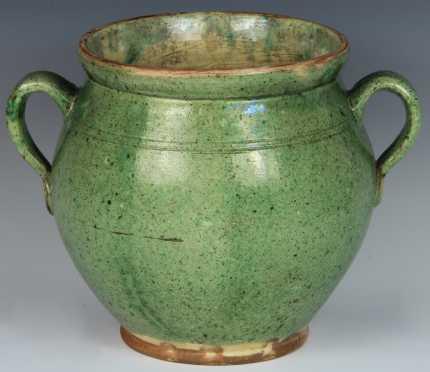 Redware Handled Pot