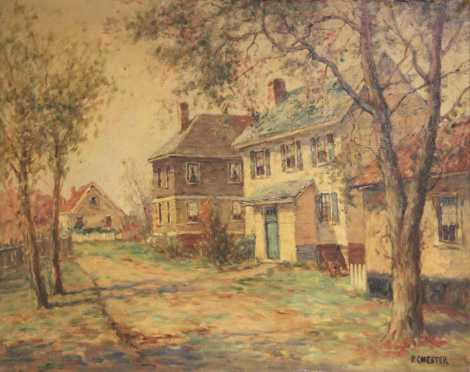 """P. Chester oil on canvas """"Colonial Home"""""""