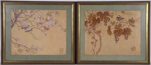 Pair of Chinese Watercolor Paintings