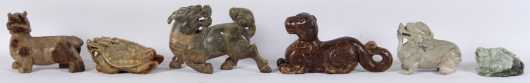 Six Chinese Carved Soapstone Animal Figures