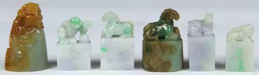 Six Modern Jadeite Figural Chops