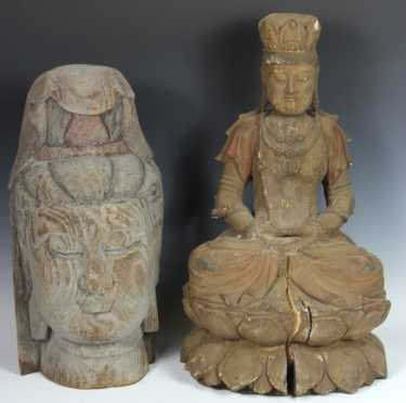 Lot of 2 Southeast Asian Carved Statues