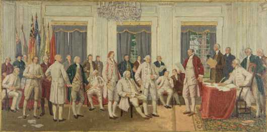 """Barry Faulkner titled """"The Day of Decision,"""" this was the preparatory painting for the mural in the lobby of the John Hancock Mutual Life insurance Co Boston"""