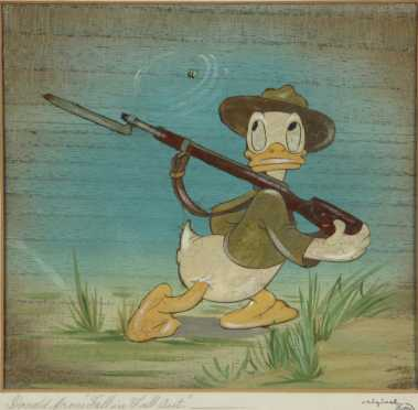 """Walt Disney's Donald Duck Celluloid, dedicated in writing """"To Hal Close with best wishes Walt Disney"""""""