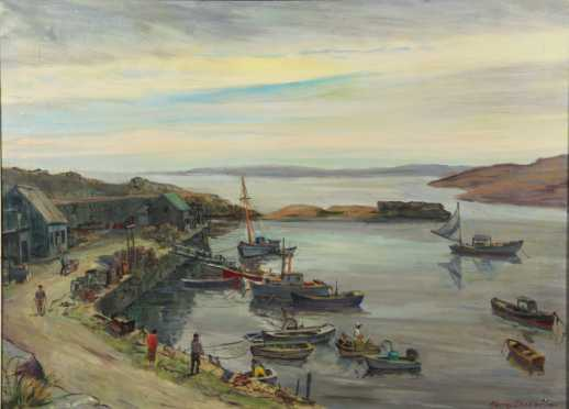 """Harry Shokler   oil on canvas painting """"Quiet Harbor"""""""