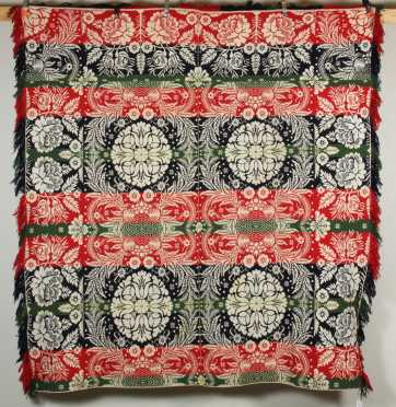 Red, Blue and Green Homespun Coverlet