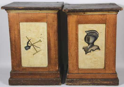 Pair of Unusual Paint Decorated Stands