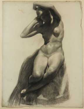 John Stockton deMartelly, charcoal on paper drawing of a nude