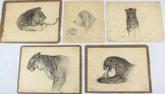John Stockton deMartelly, group of 5 pencil drawings of animals done when he was a boy
