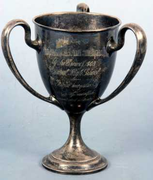 """Sterling Rowing Trophy given to """"Professor John Duncan Spaeth by his crew in 1903,"""""""