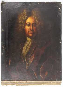 French Ancestral Portrait, oil on canvas painting presumably of  Le Comte Anthony deMartelly of Toulon's