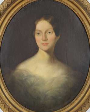 Bass Otis (attributed), oil on canvas portrait presumably of Rebecca Stockton