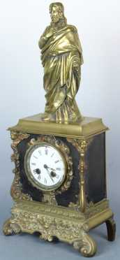 Brass French Figural Clock
