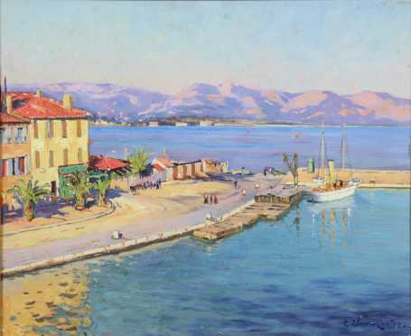 Paul Place-Canton,  oil on panel painting of a Mediterranean port