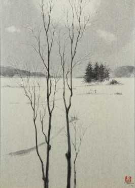 Ohgen Hamanaka, Contemporary, Oklahoma, inland watercolor painting