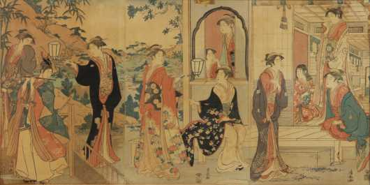 """Japanese Triptych, """"At the Mansion of the lady Joruri,"""""""