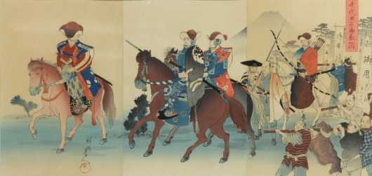 Japanese Block Print Triptych