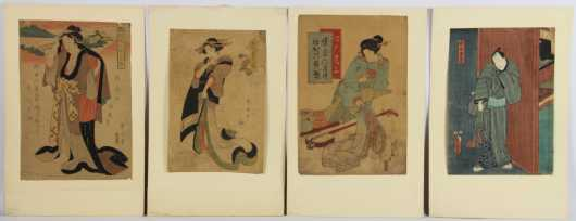 Lot of Four Japanese Block Prints