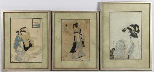 Lot of 3 Japanese Block Prints
