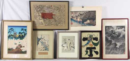 Lot of 7 Japanese prints and watercolor