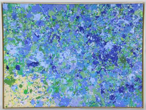 """Walasse Ting oil on canvas  titled and signed """"Little flowers under moonlight, Ting 68"""""""