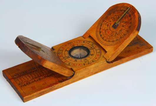 Chinese Fruitwood Combination Sundial & Compass