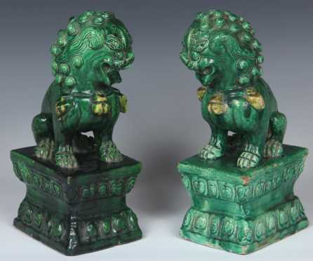 Pair of Chinese Seated Dogs