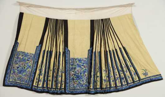 Two Chinese Needlework Skirts