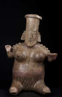 A large Jalisco seated female figure, 300 AD
