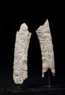 A superb pair of Mayan carved bones, 550 - 950 AD - Published and exhibited