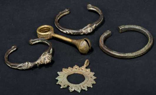 Five pieces of West African jewelry