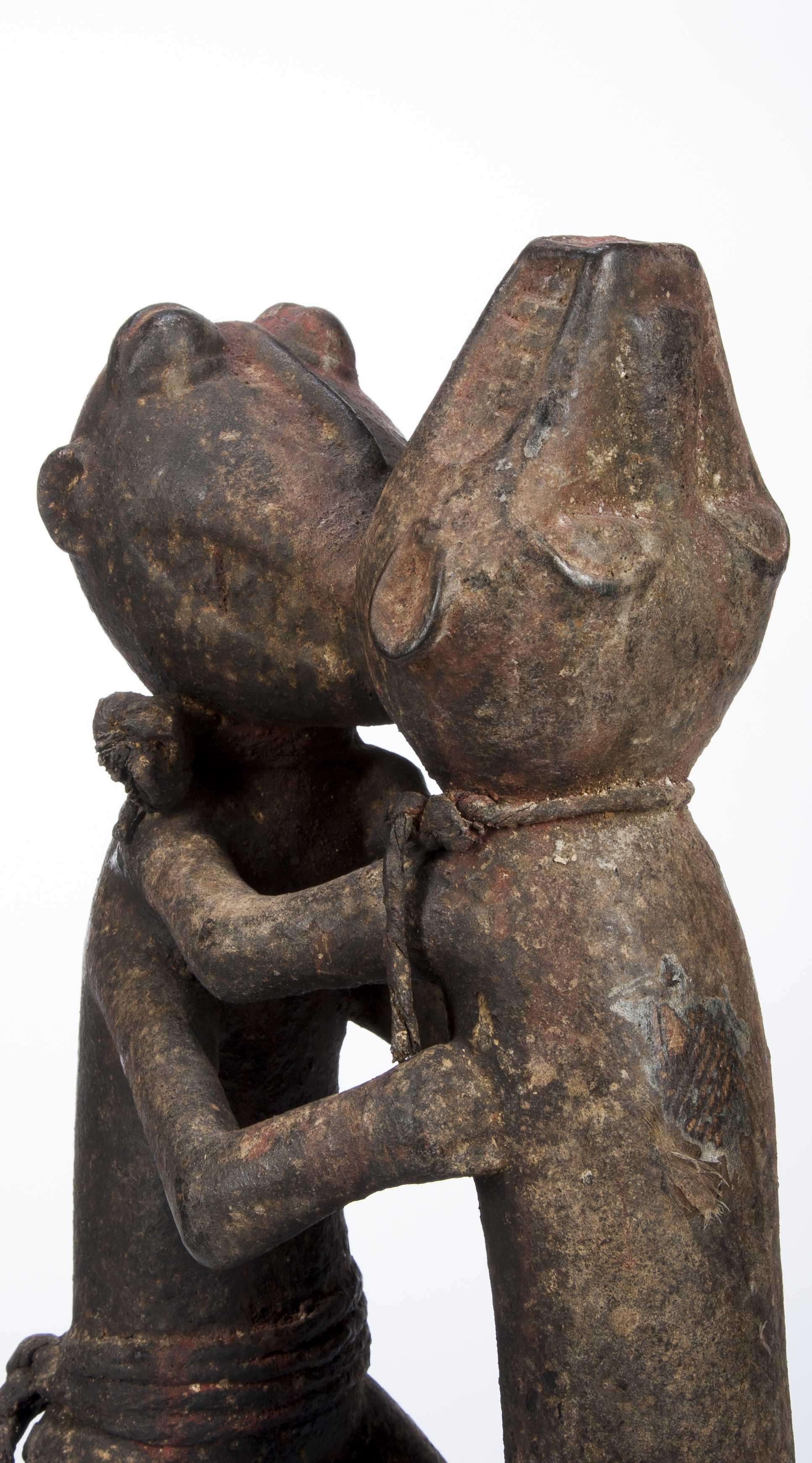 A Baule Shrine Carving Of Fighting Monkeys