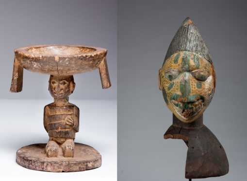 A Yoruba offering bowl and Egungun mask