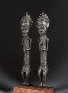 A fine and large pair of Yoruba Ogboni Edan staves