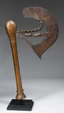 A lovely Nsapo copper covered axe