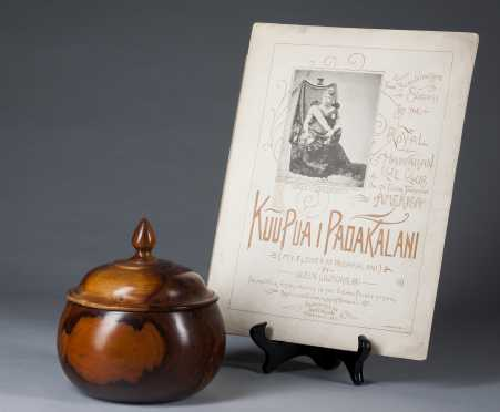 A Hawaiian Royal calabash and sheet music