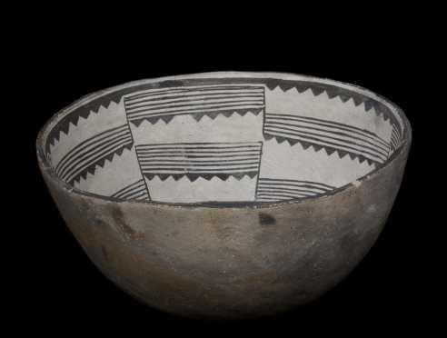 A fine Mimbres geometric bowl, 1100 AD