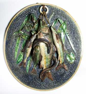 French Majolica Hanging Fish Plaque