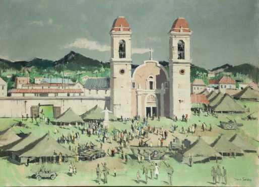 Paul Starrett Sample, painting of Encampment in the Philippines