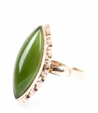 Jadeite and Rose Gold Ring
