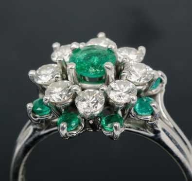 Tiffany Diamond & Emerald Cluster Ring