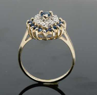 Sapphire and Diamond Heart Cluster Ring,