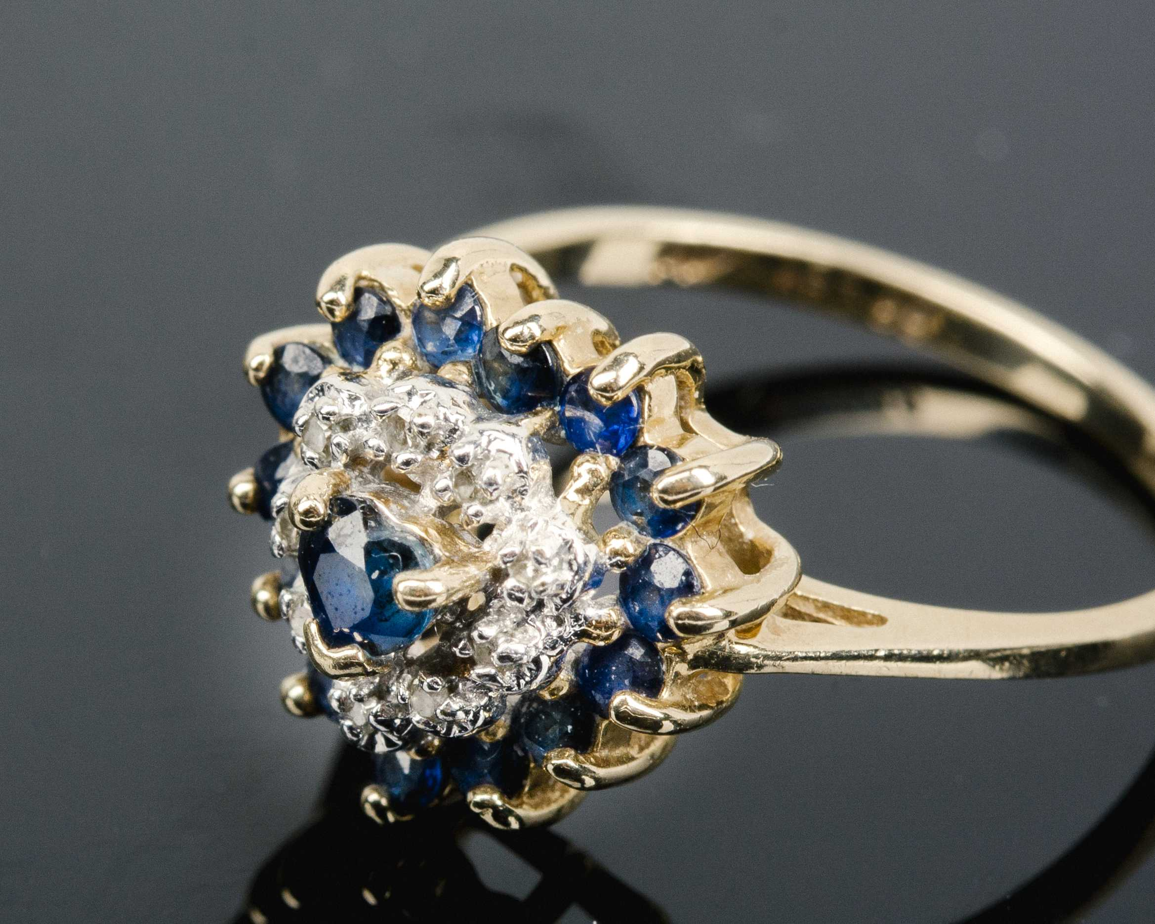 Sapphire And Diamond Heart Cluster Ring