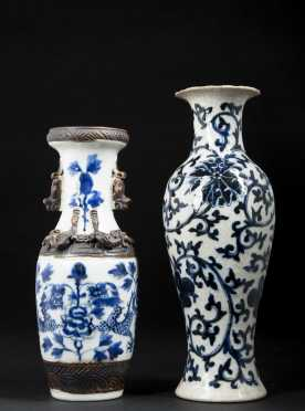 Two Chinese Blue and White Vases