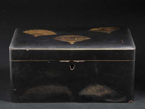 Chinese Black Lacquer Tea Box