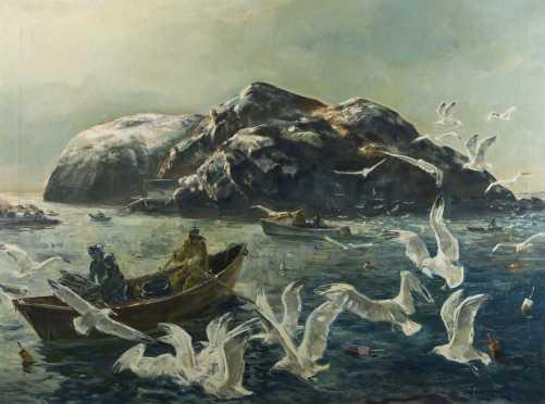 Andrew George Winter painting of Fishermen