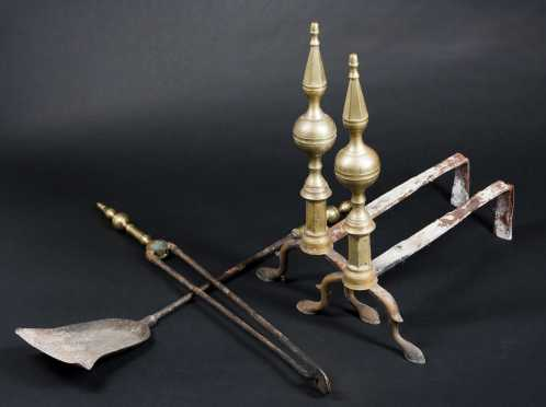 Pair of Steeple Top Brass Andirons and Tools