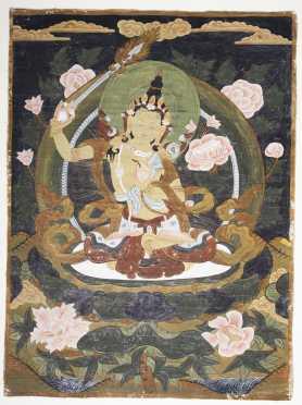 A Tibetan Thangka Depicting Manjushri.