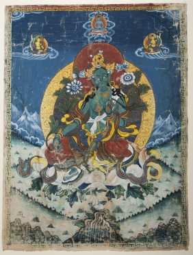 A Tibetan Thangka of Green Tara