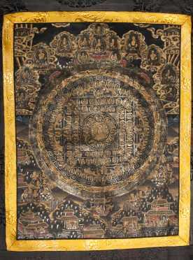 "Tibetan, ""Wheel of the Law,"" Mandala Thangka"